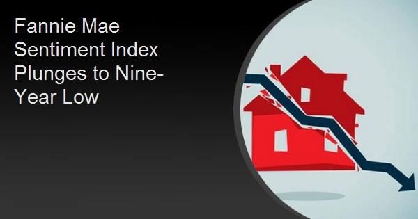 Fannie Mae Sentiment Index Plunges to Nine-Year Low