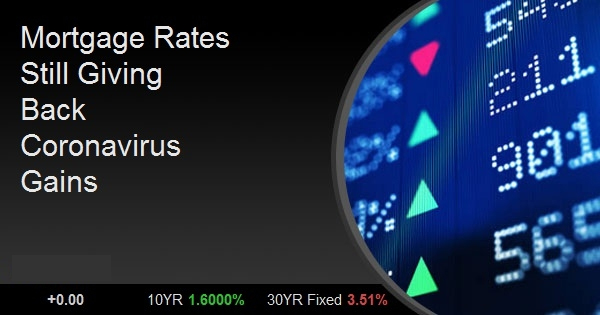 Mortgage Rates Still Giving Back Coronavirus Gains